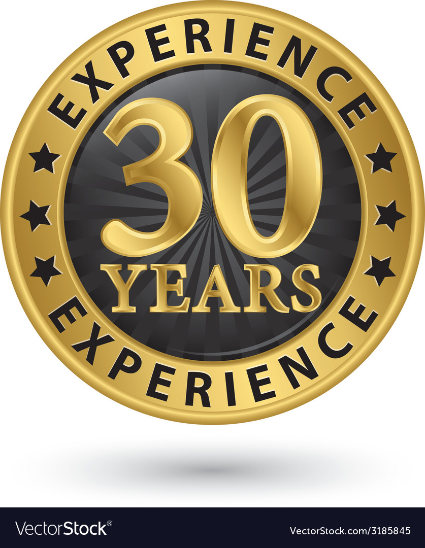 30 years experience gold label vector