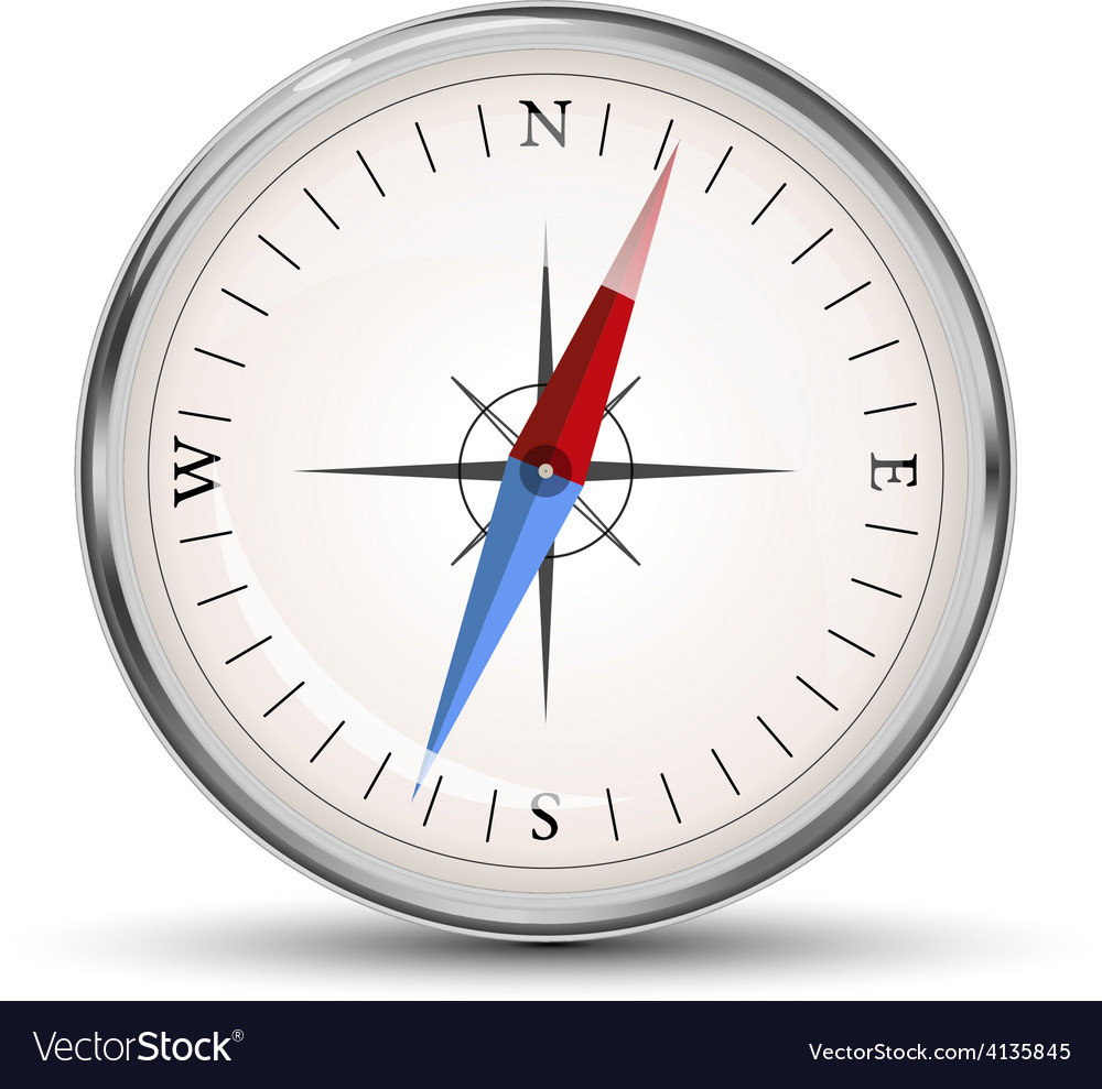 Glossy compass icon on white vector