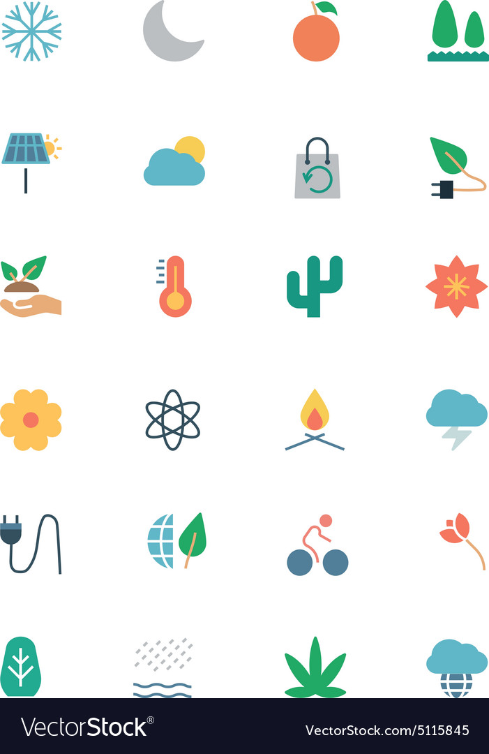 Nature and ecology colored icons 3 vector