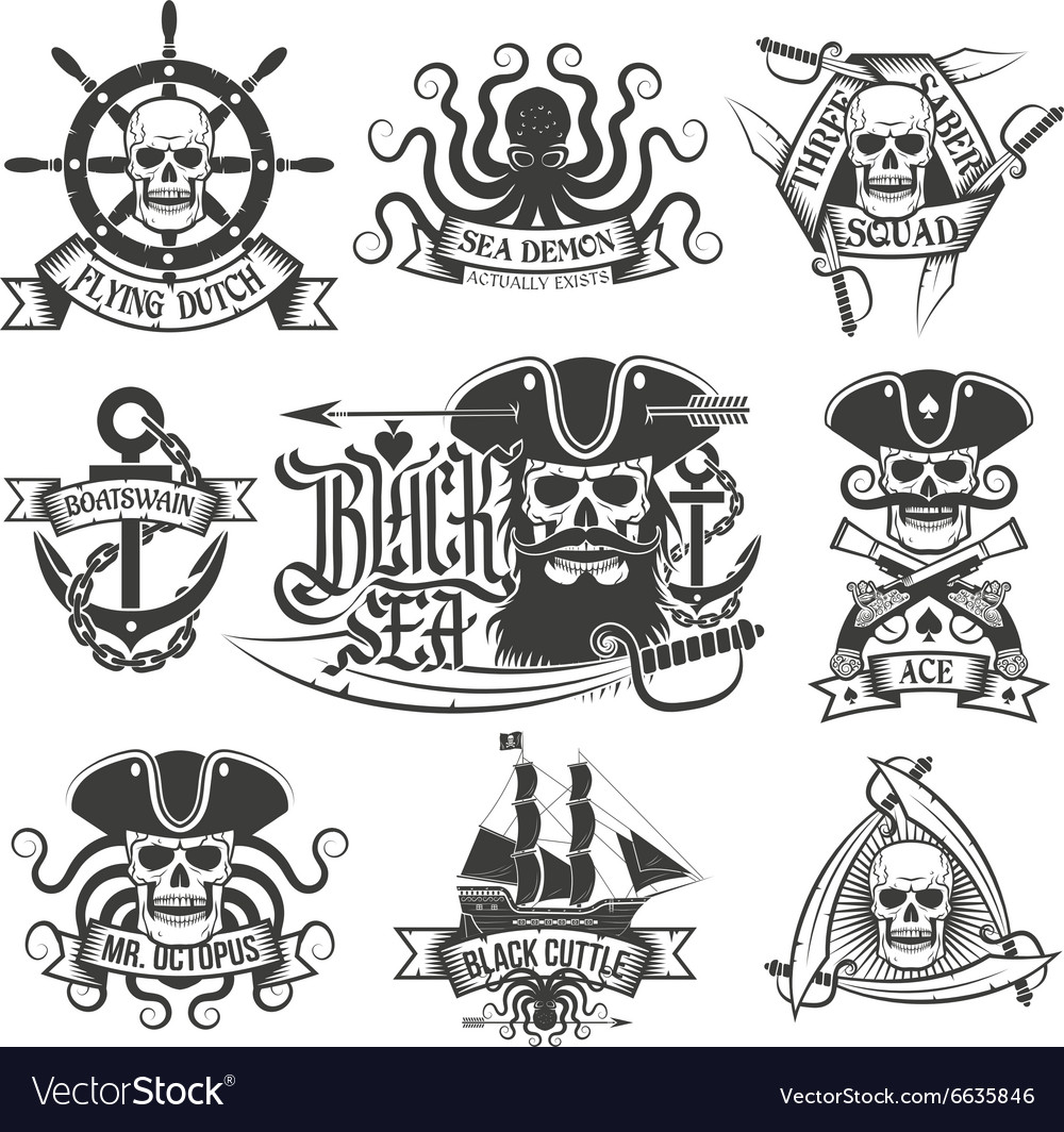 Pirate tattoo set vector