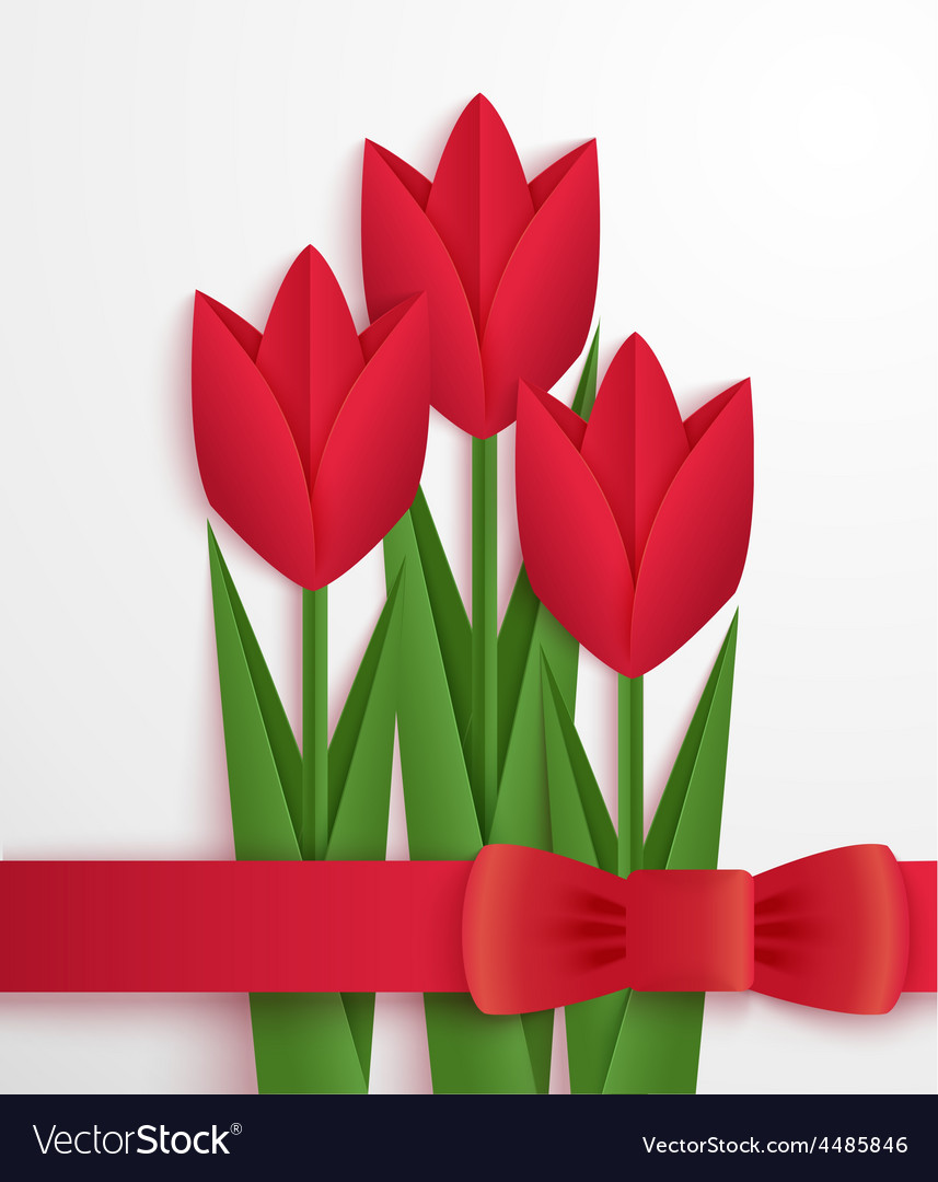 Red paper tulips card vector