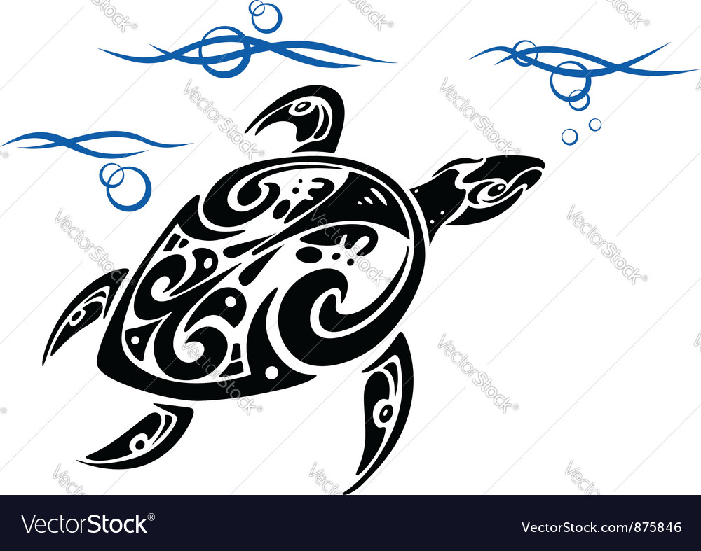 Turtle in ocean water vector