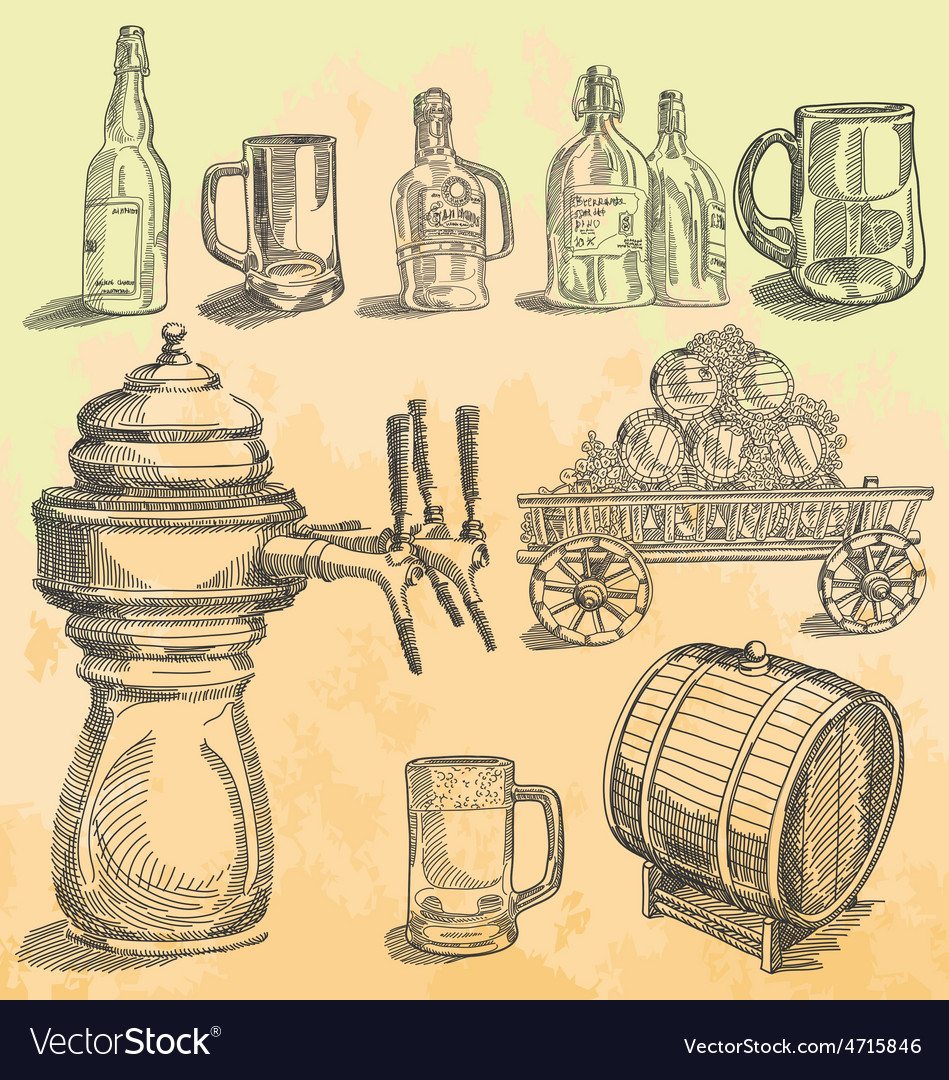 Vintage beer hand drawn engraving vector