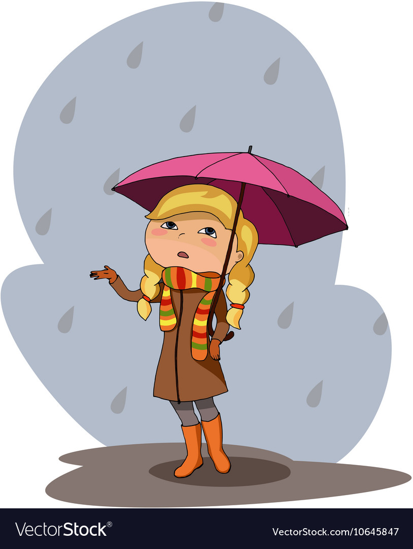 Girl pink umbrella rainy grey day vector