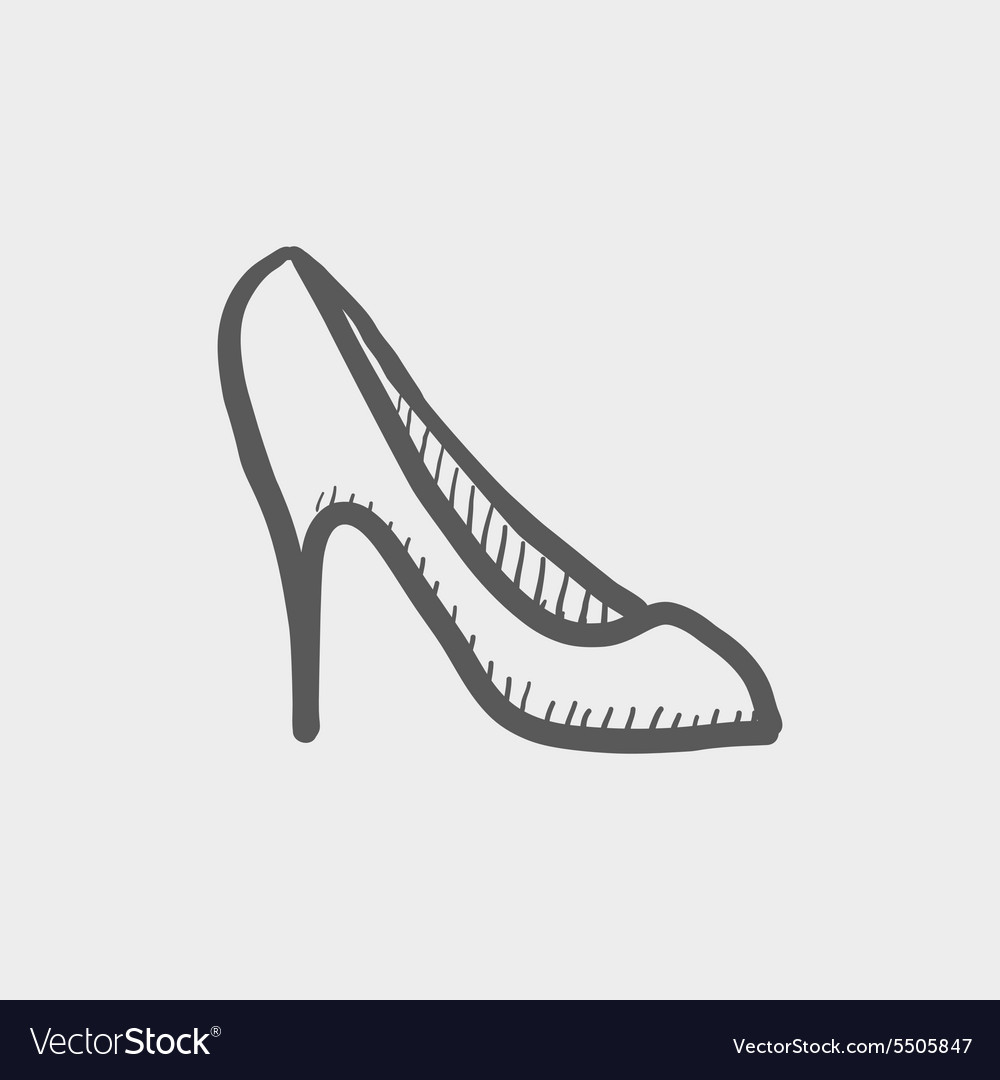 Lady high heel shoe sketch icon vector