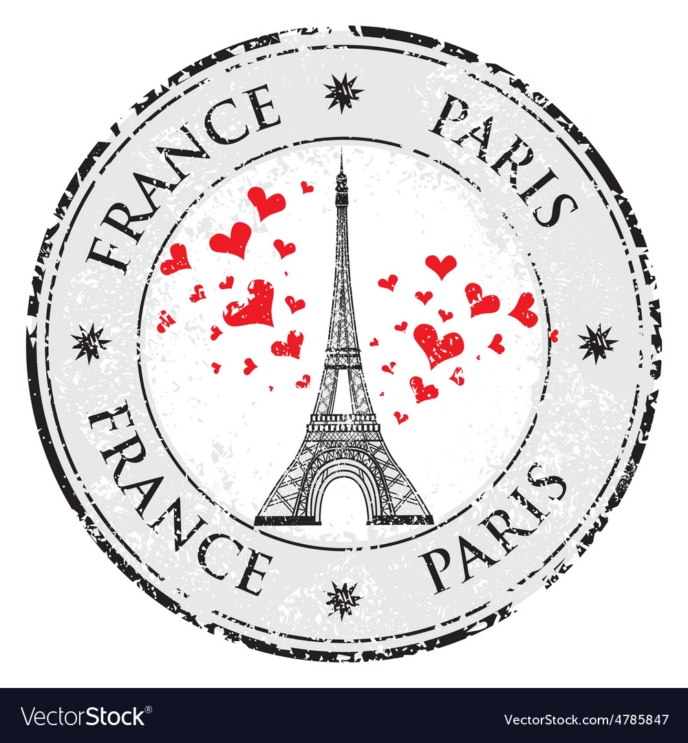 Paris town in france grunge stamp love heart vector