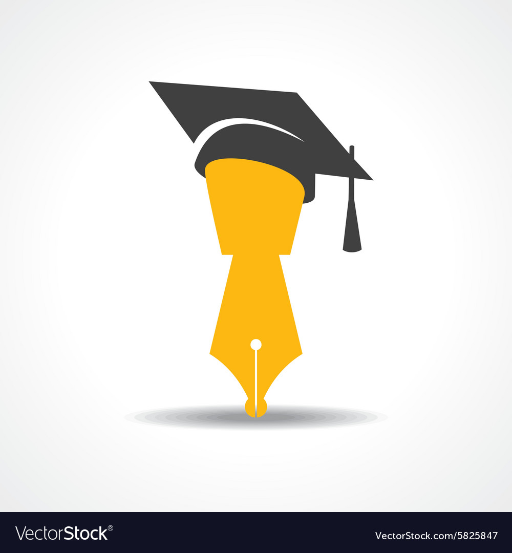 Pen with graduation cap icon educational symbol vector
