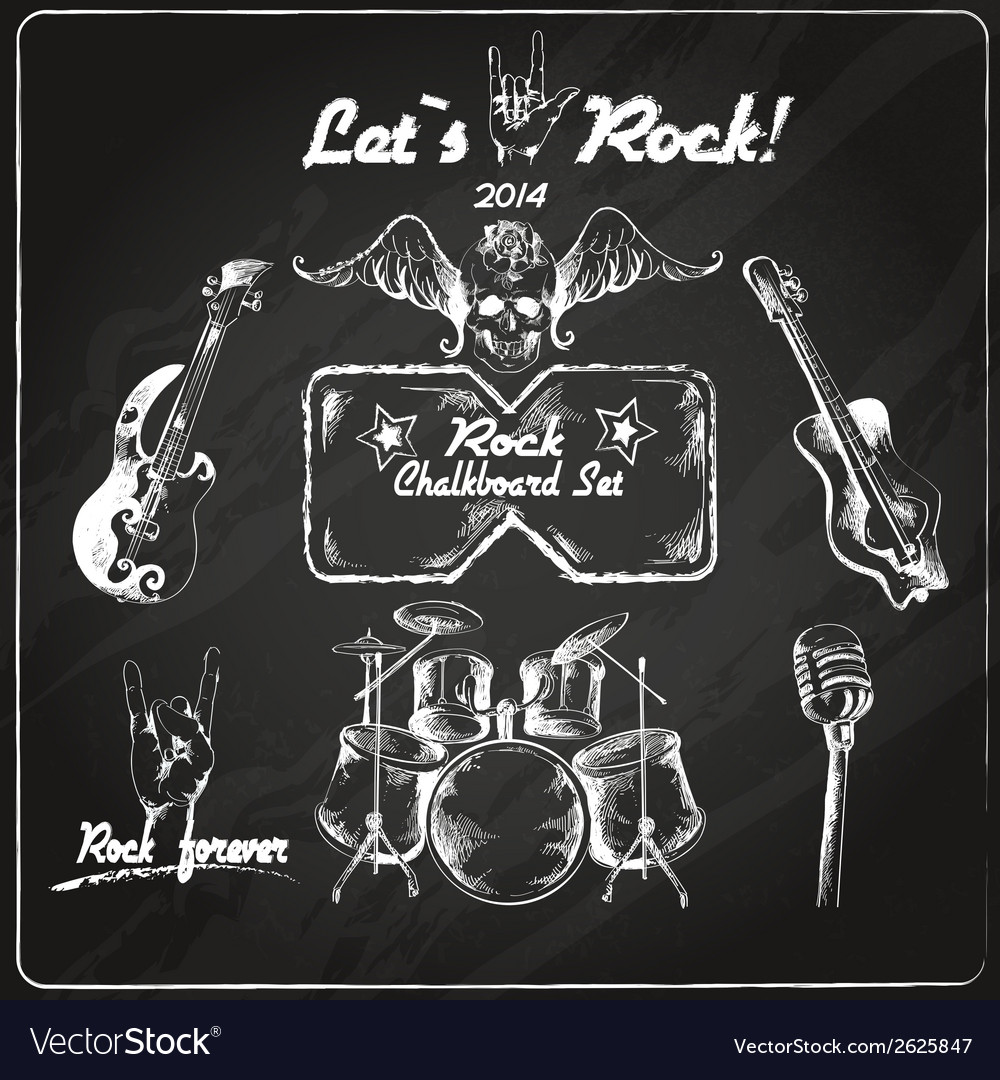 Rock music chalkboard set vector