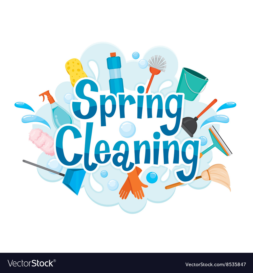 Spring cleaning letter decorating and equipment vector