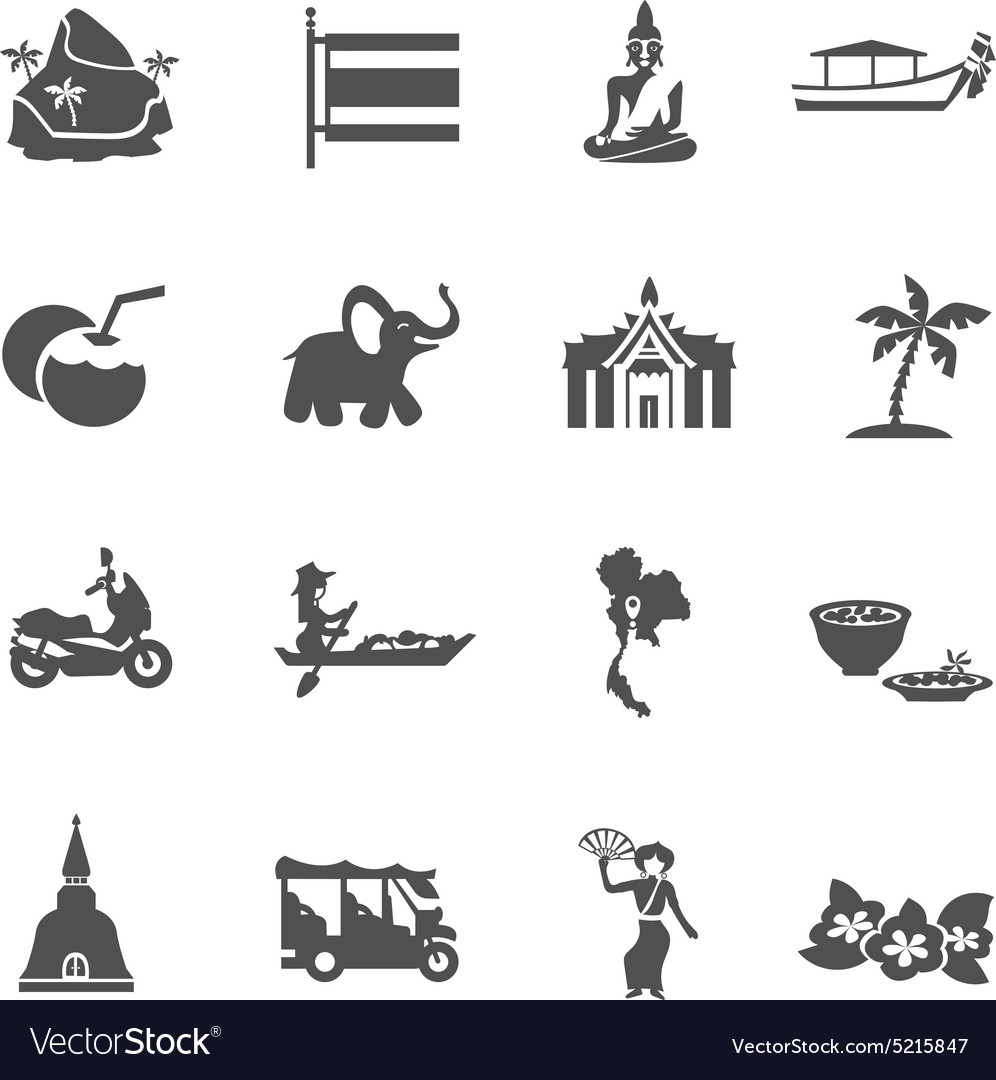 Thailand travel icons set vector