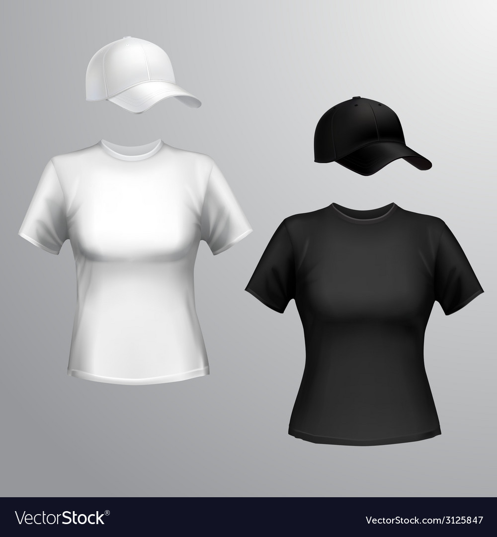 Women tshirt baseball cap vector