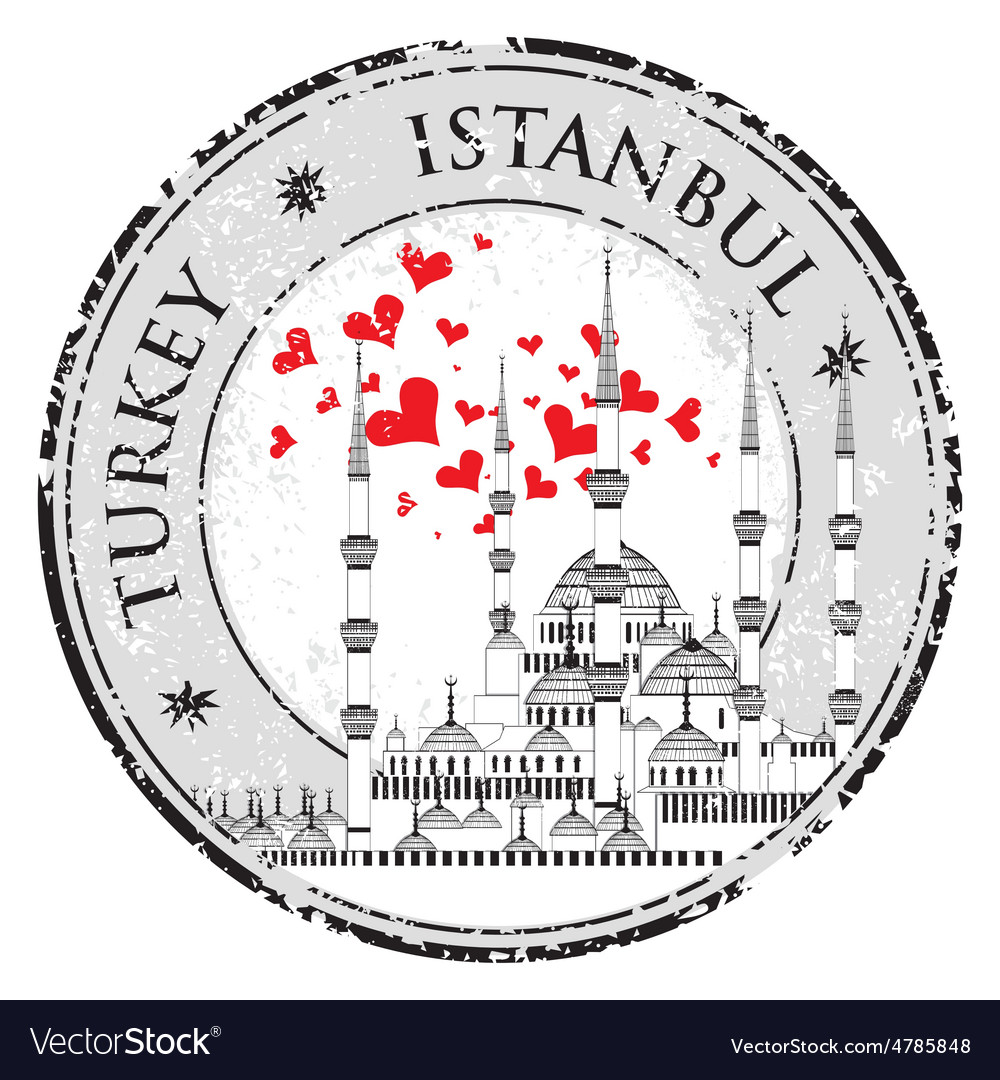 I love istanbul design stamp with heart the blue vector
