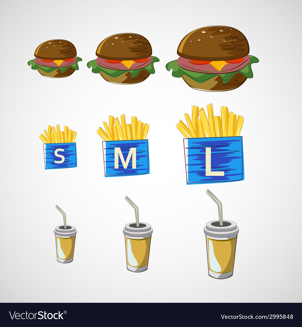 Set of fast food drink burger fries vector