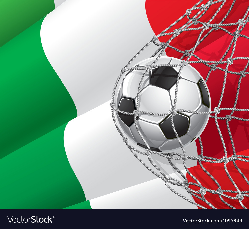 Soccer goal and italy flag vector