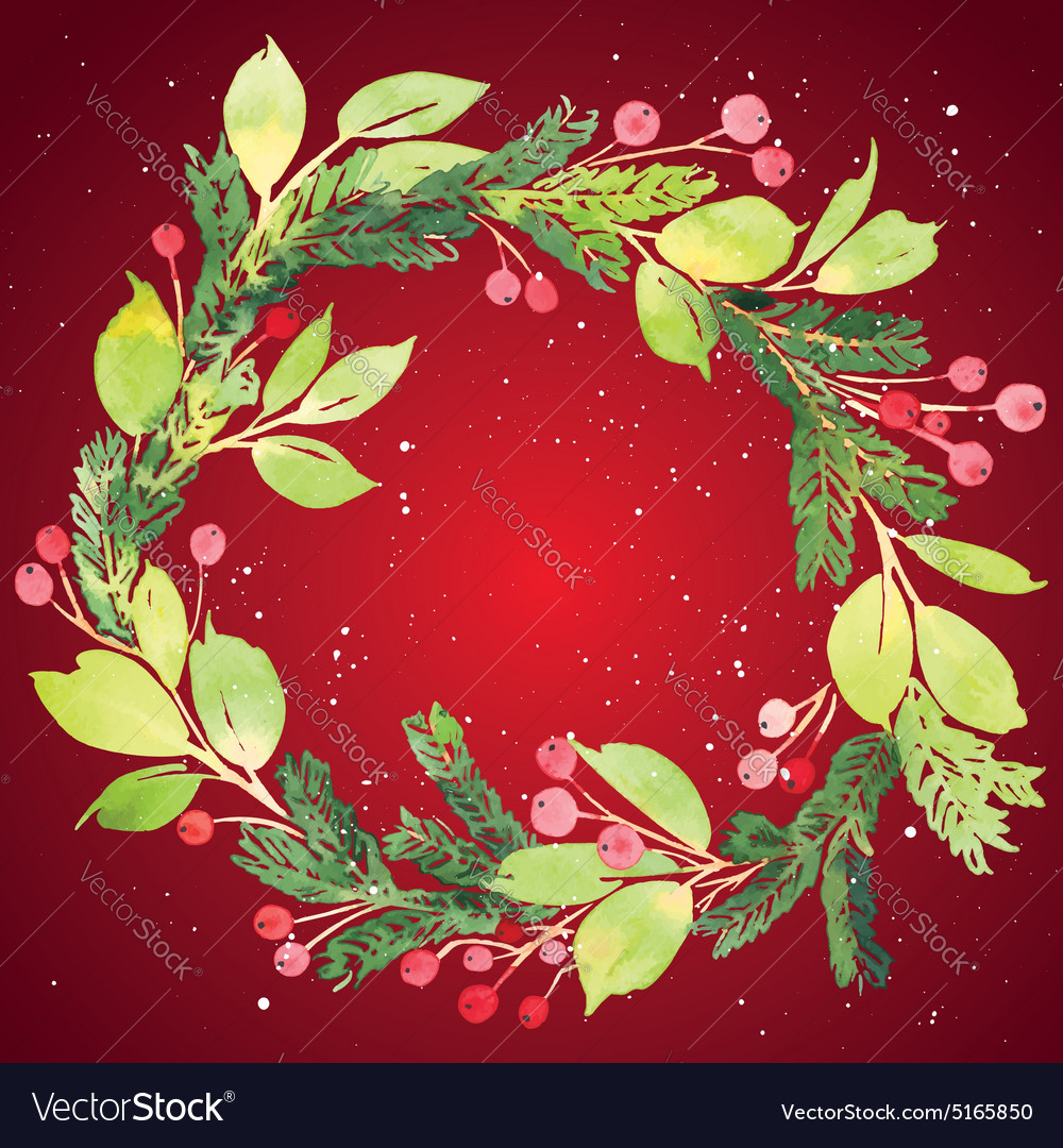 Christmas card watercolor painting vector