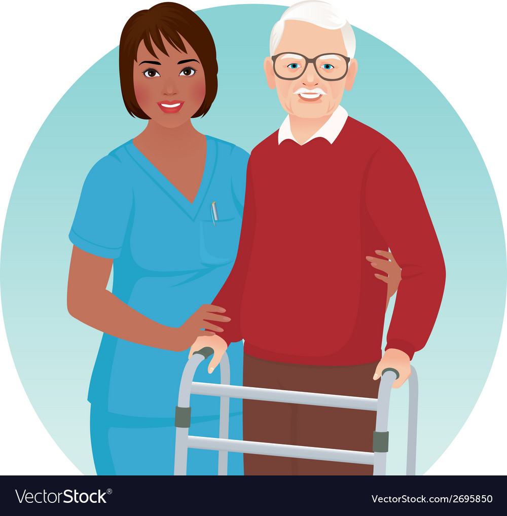 Nurse helps elderly patient vector