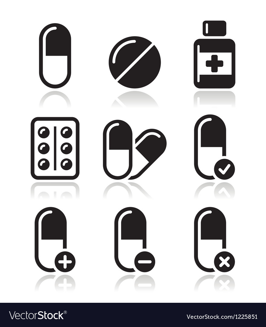 Pills medication icons set vector