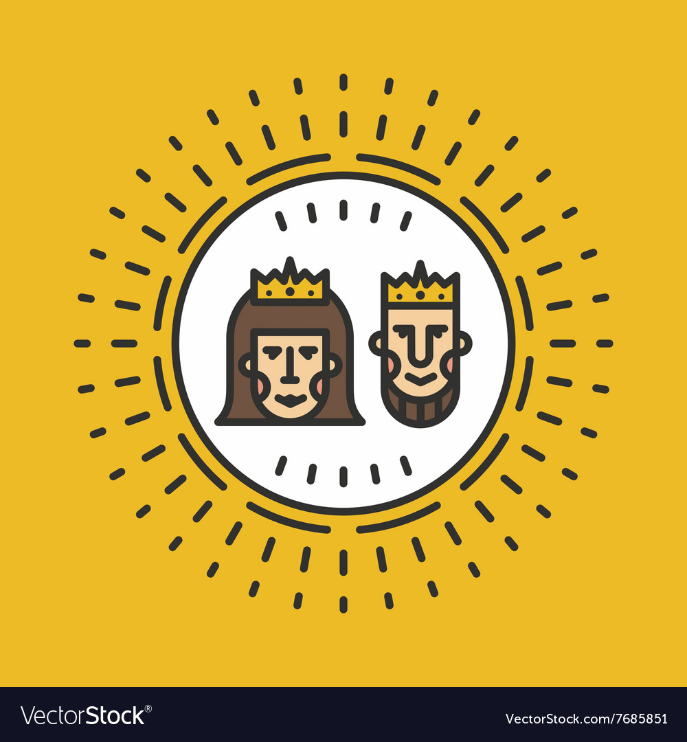 Portrait of queen and king line art vector