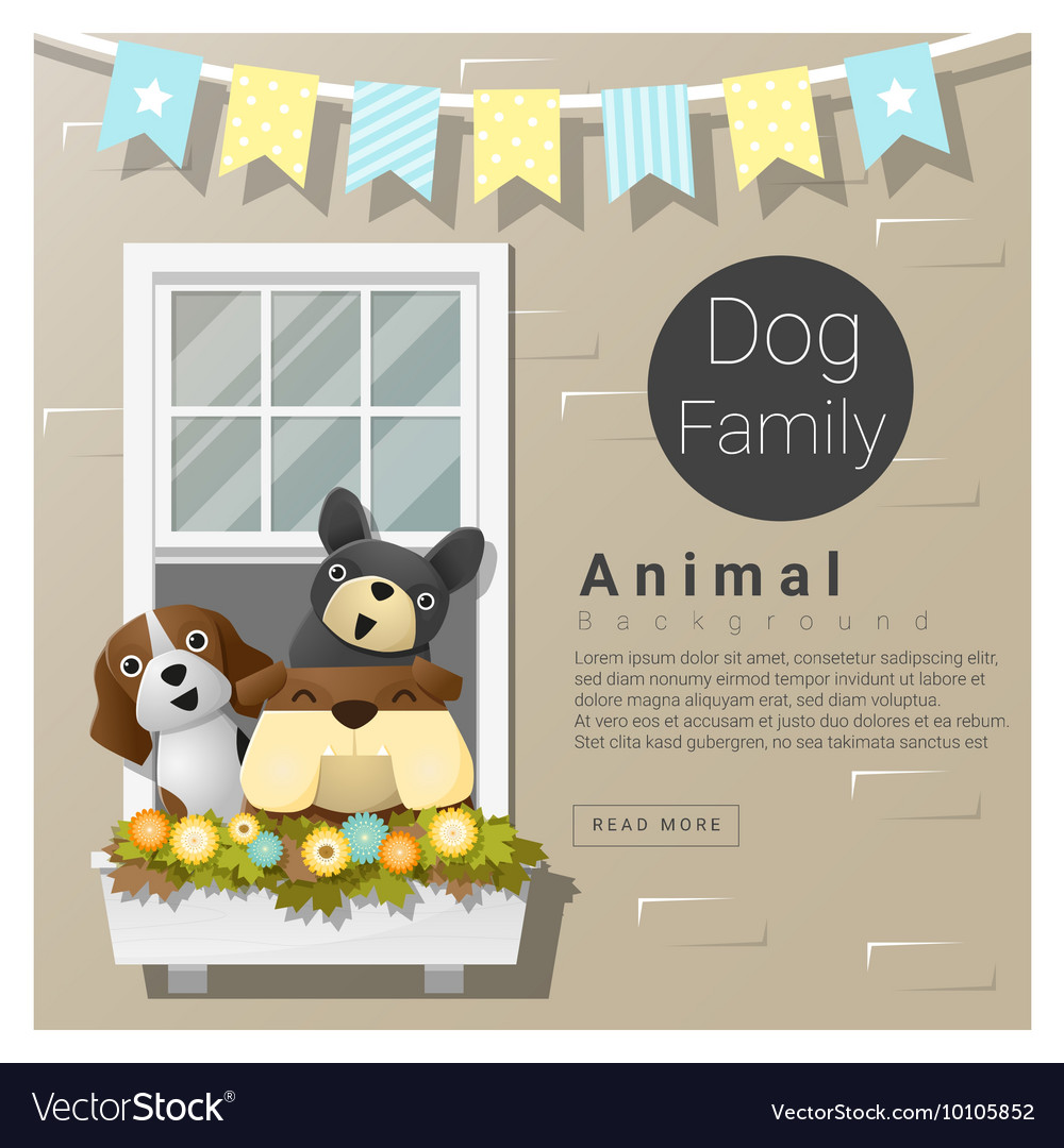 Cute animal family background with dogs 5 vector