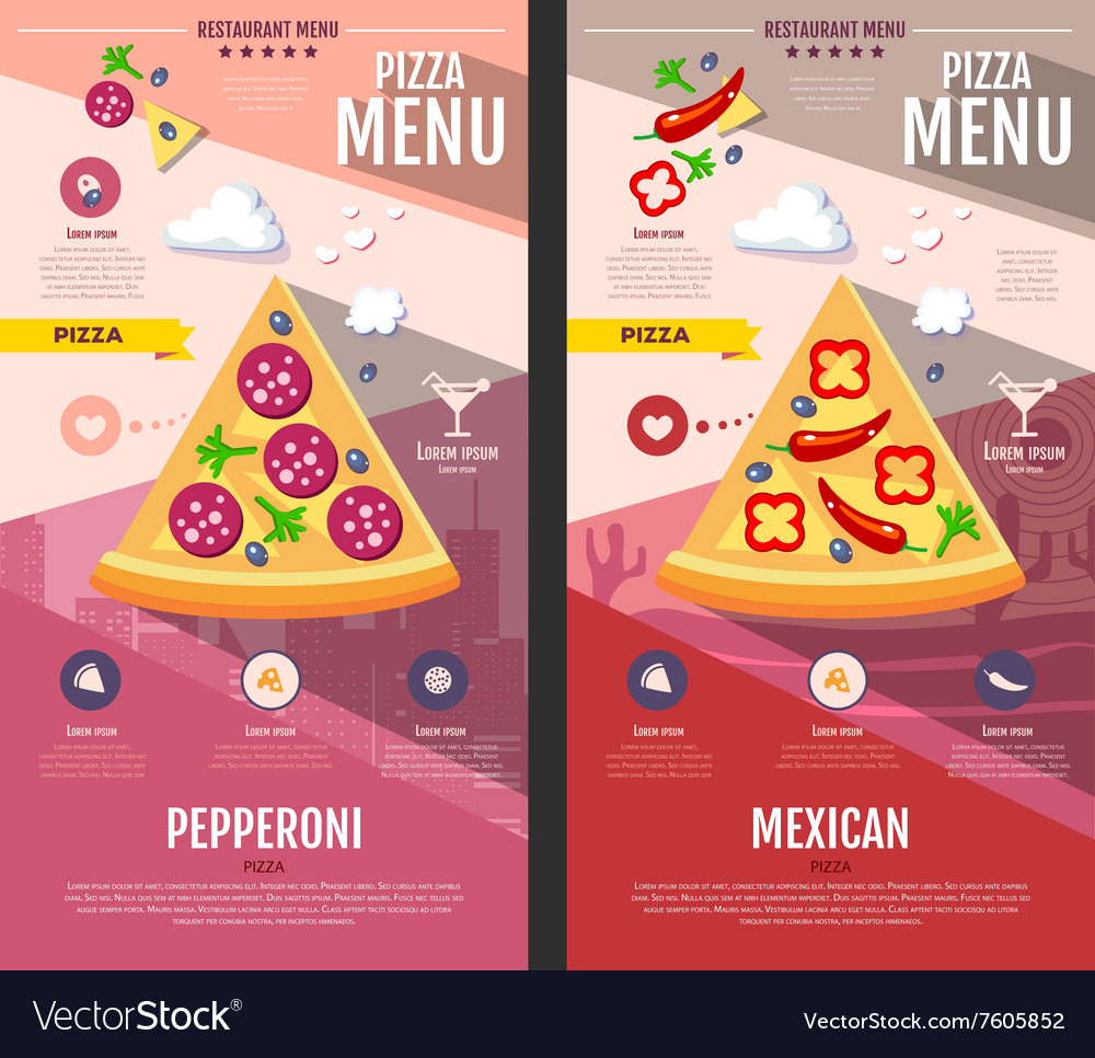 Flat style pizza menu design vector