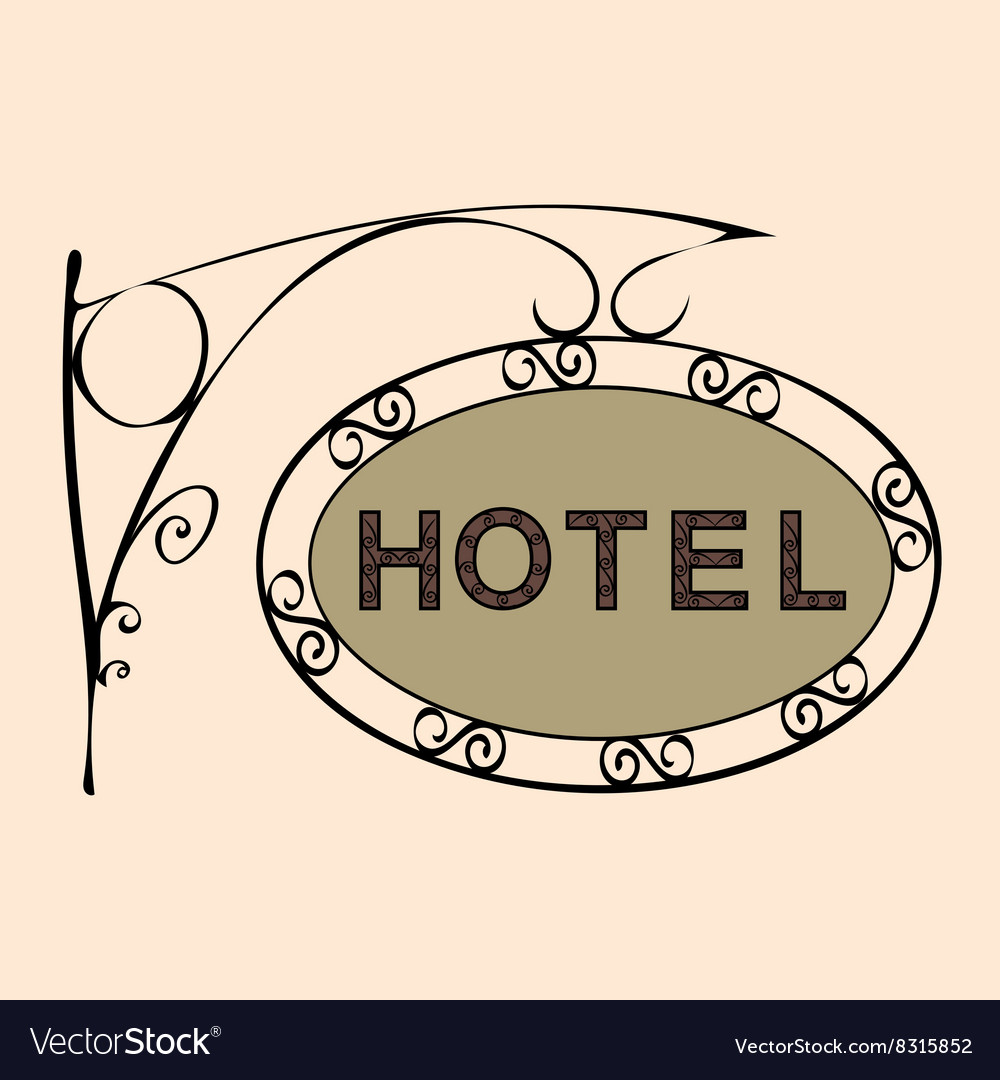 Hotel text on vintage street sign vector