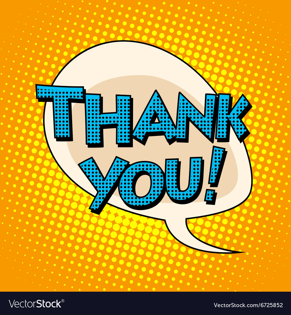 Thank you comic bubble retro text vector