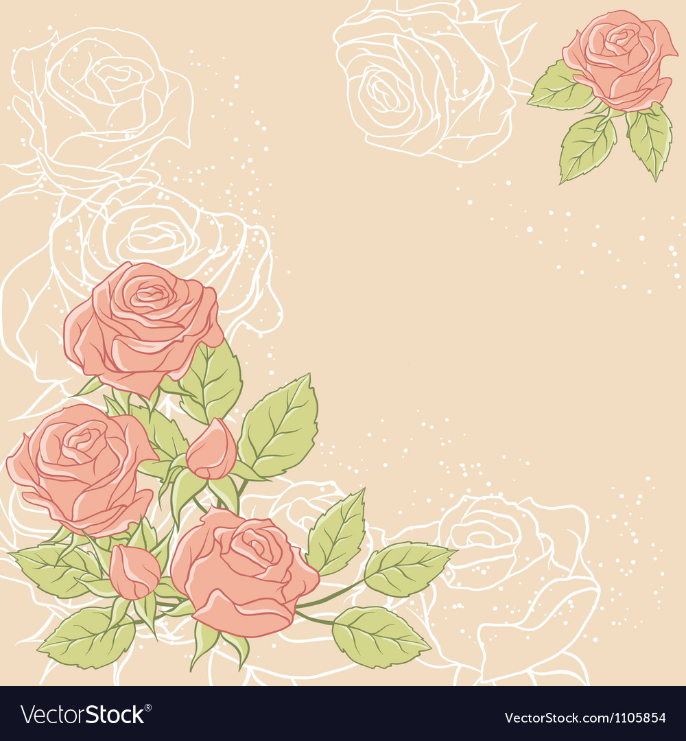 Floral background with rose in pastel tones vector