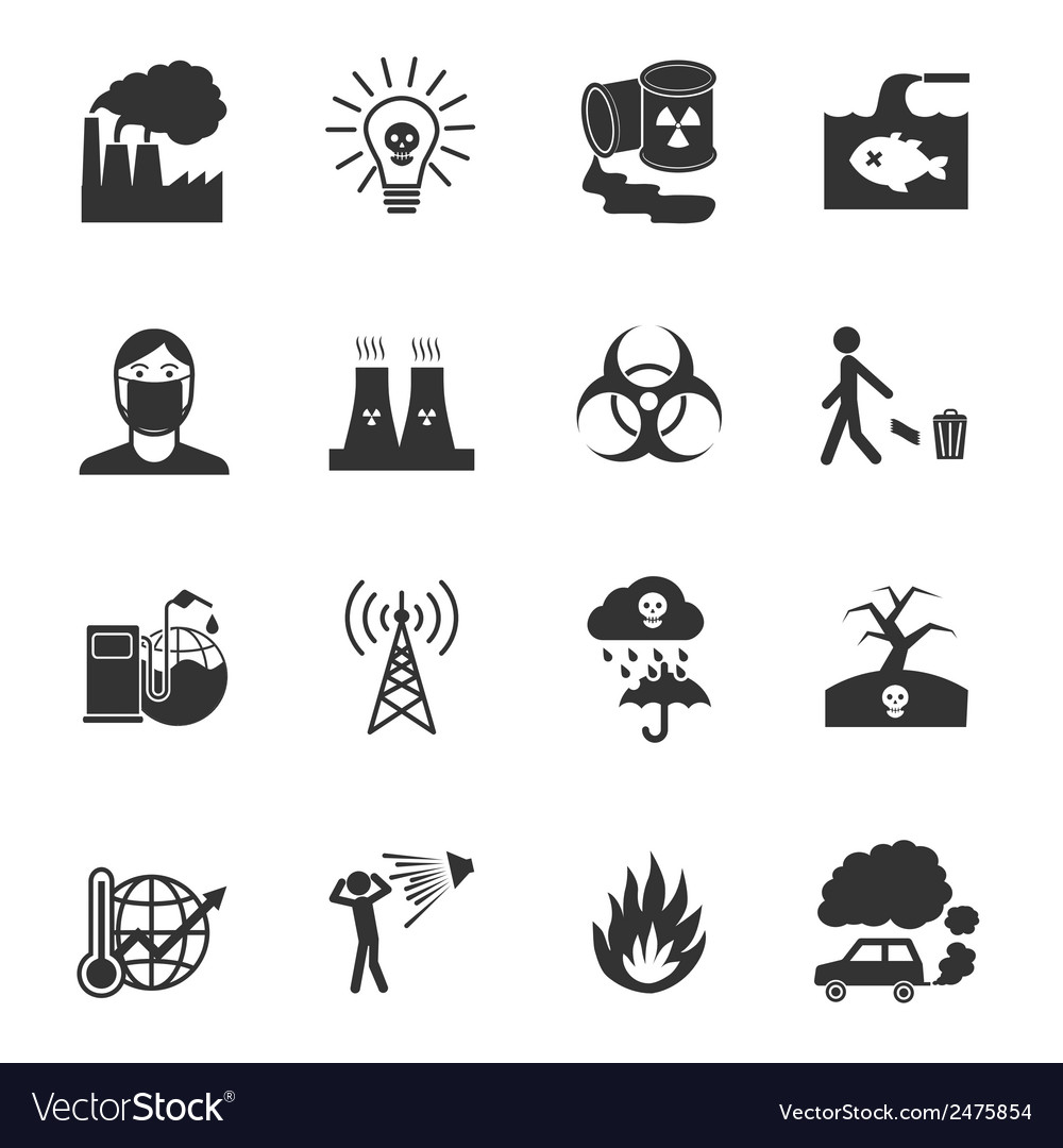 Pollution icons set vector