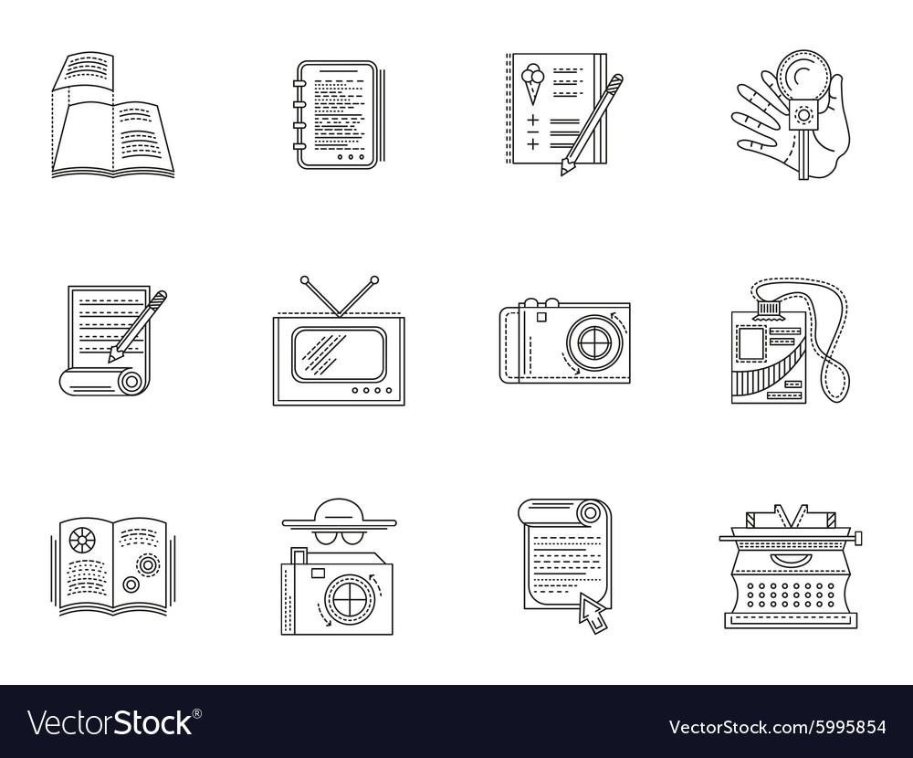 Thin line style journalism icons vector