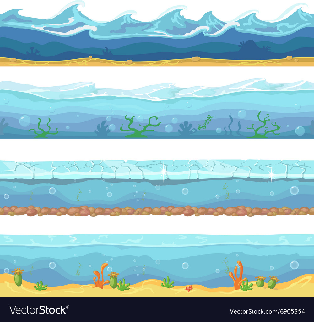 Water waves or ocean sea seamless vector