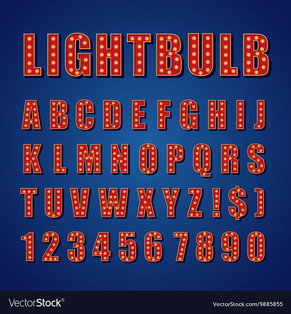 Retro lightbulb alphabet font type letters vector