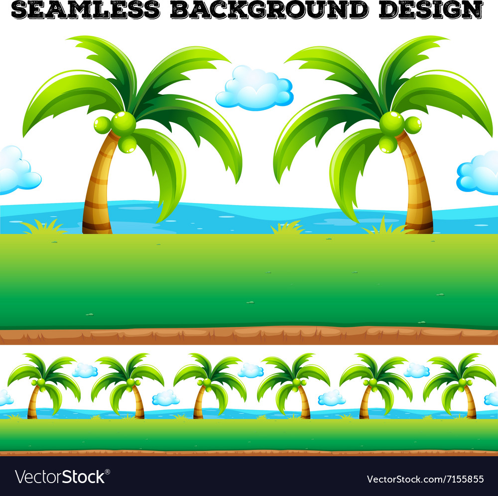 Seamless background with coconut trees vector