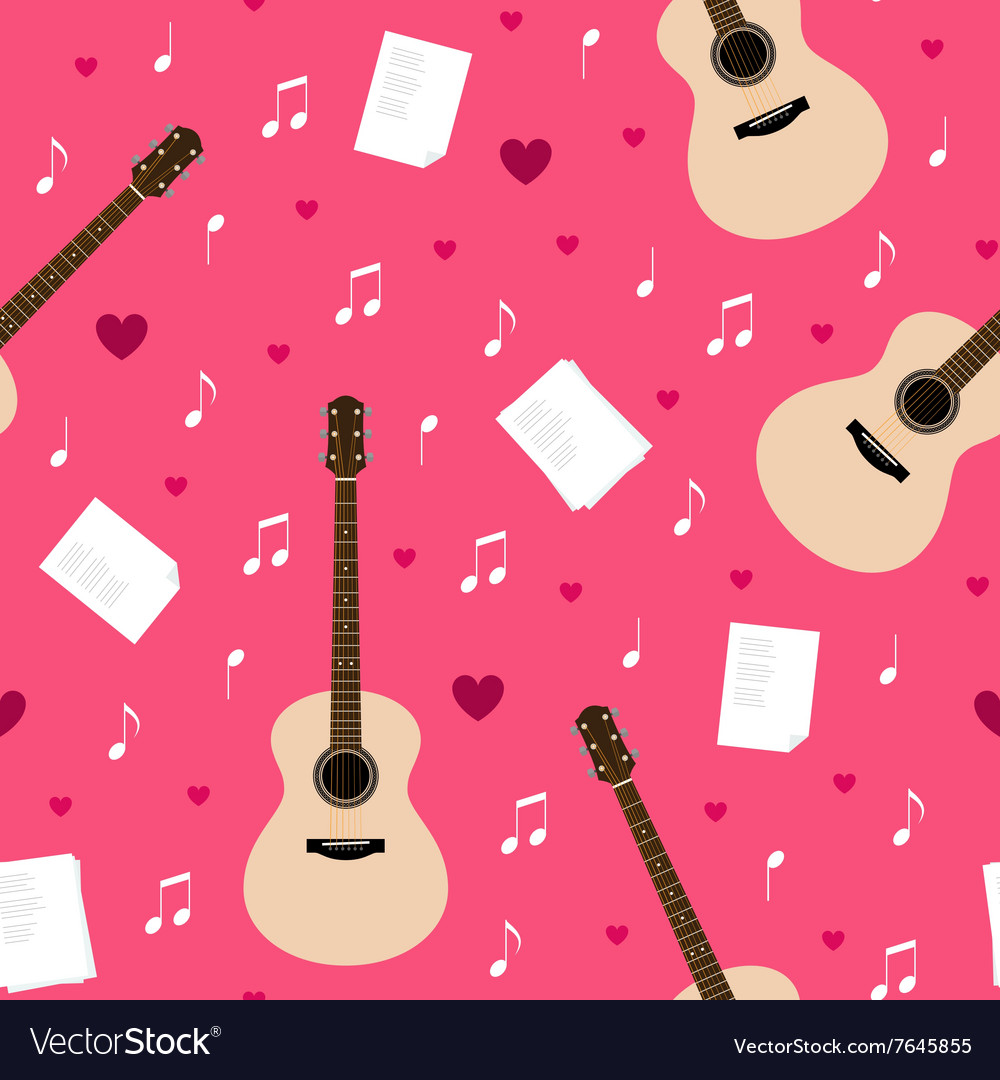 Seamless pattern with guitars lyrics notes and vector