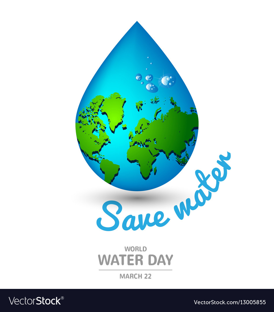 Water drop earth ecology concept for world water vector