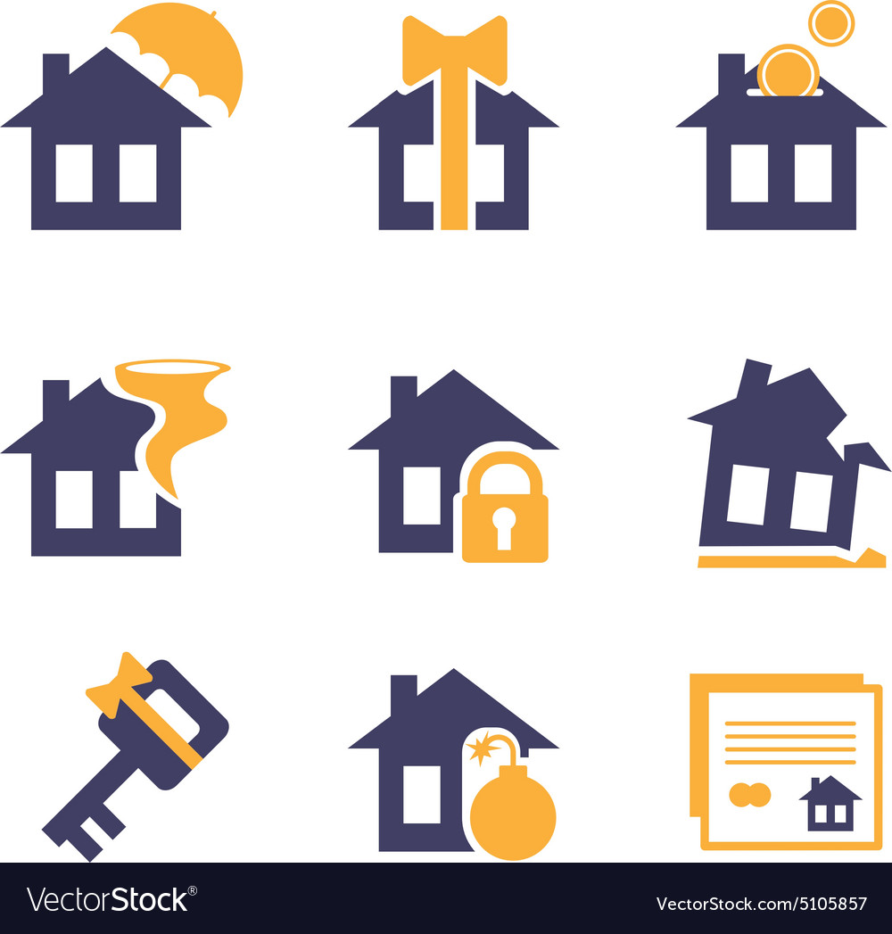 Home and house insurance risk icons vector