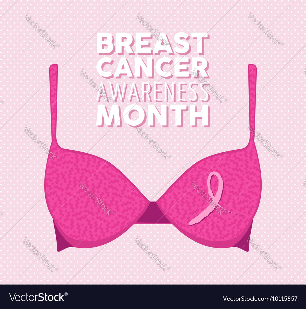 Pink bra and ribbon for breast cancer vector