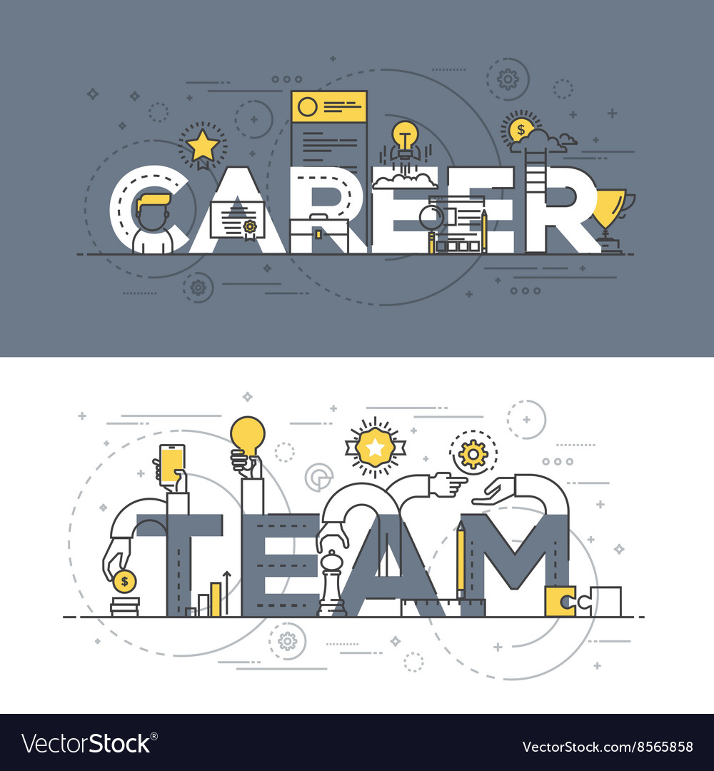 Flat design line concept banner career and team vector