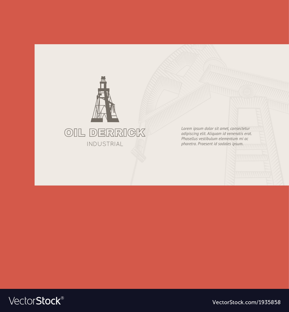 Oil rig card vector