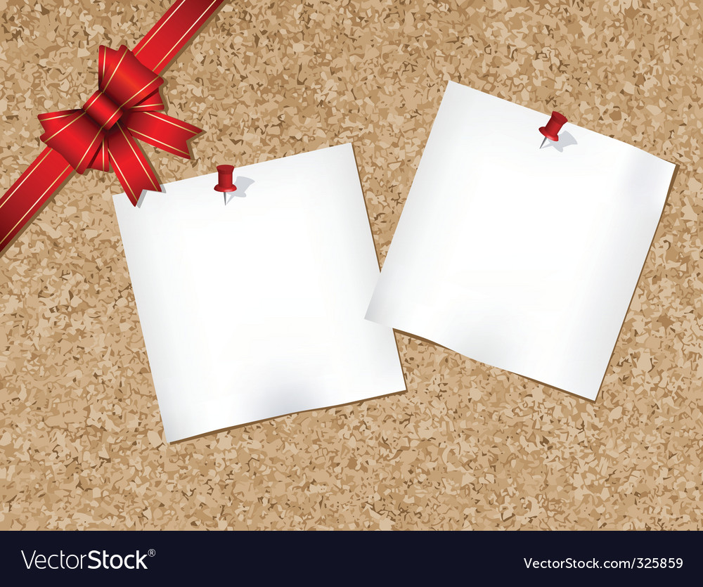 Cork bulletin board with ribbon vector