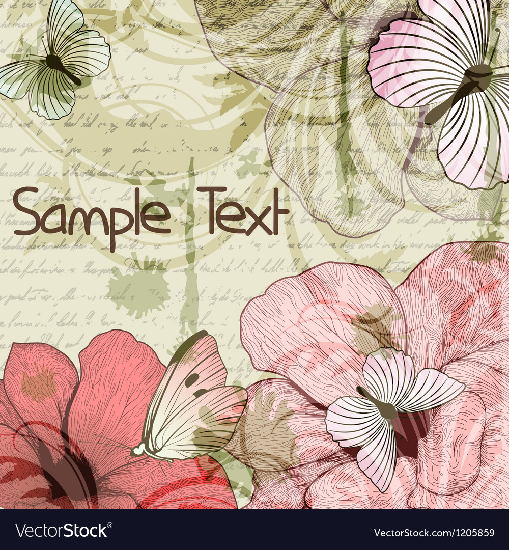 Grungy retro background with flowers and vector