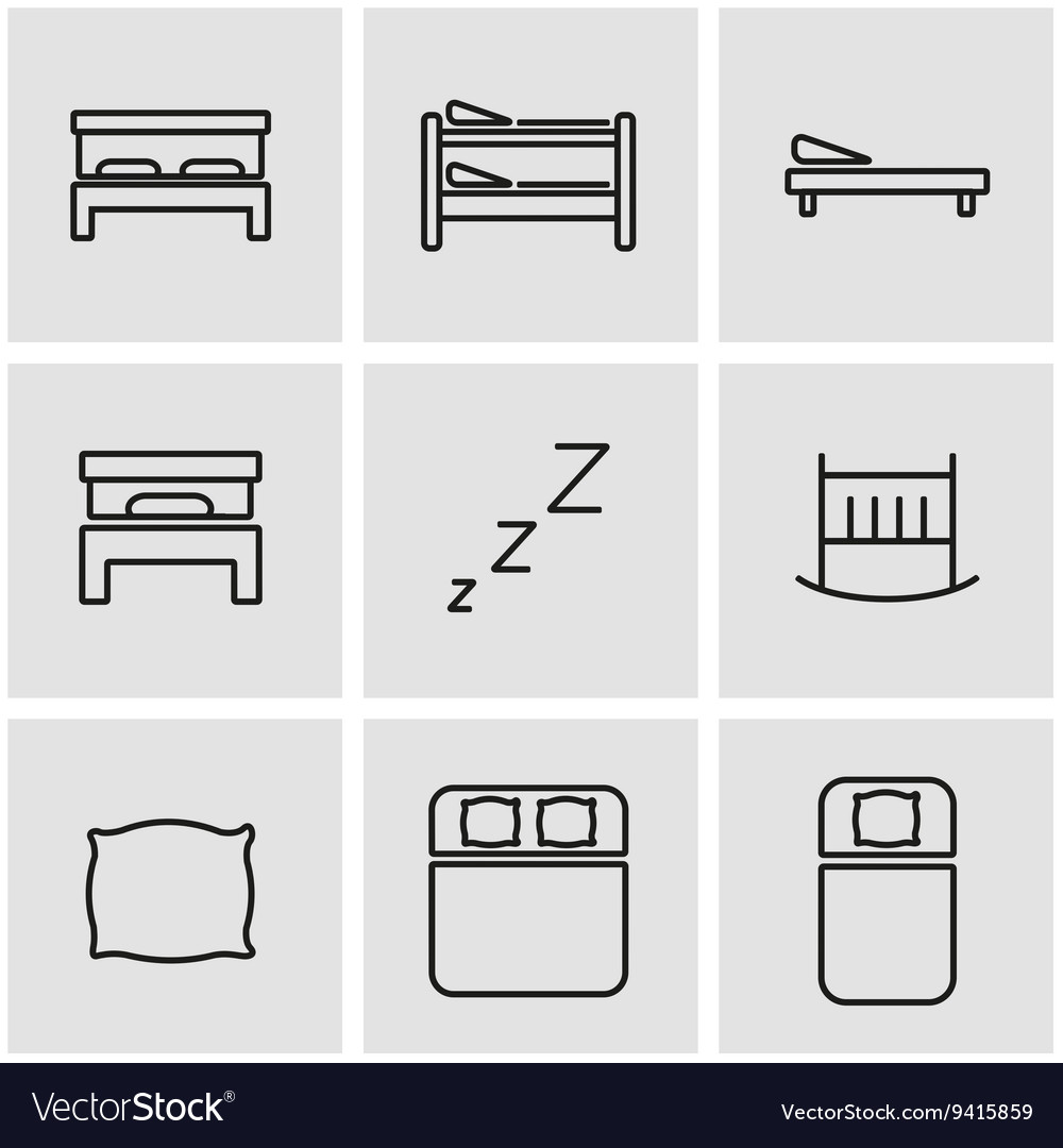 Line bed icon set vector