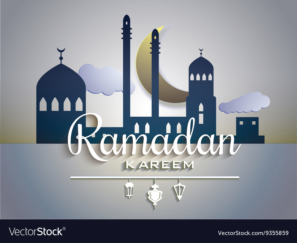 Stylish text ramadan kareem on paper tags with vector