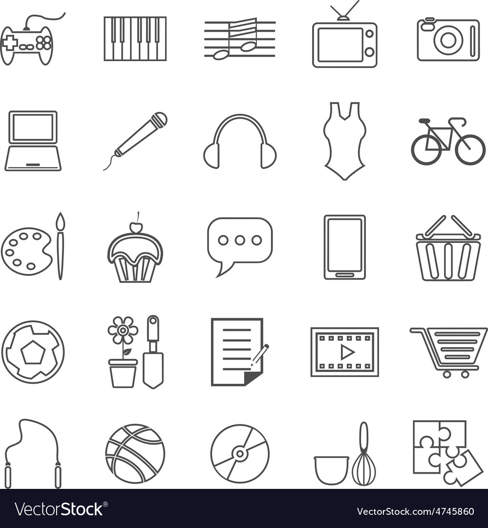 Hobby line icons on white background vector