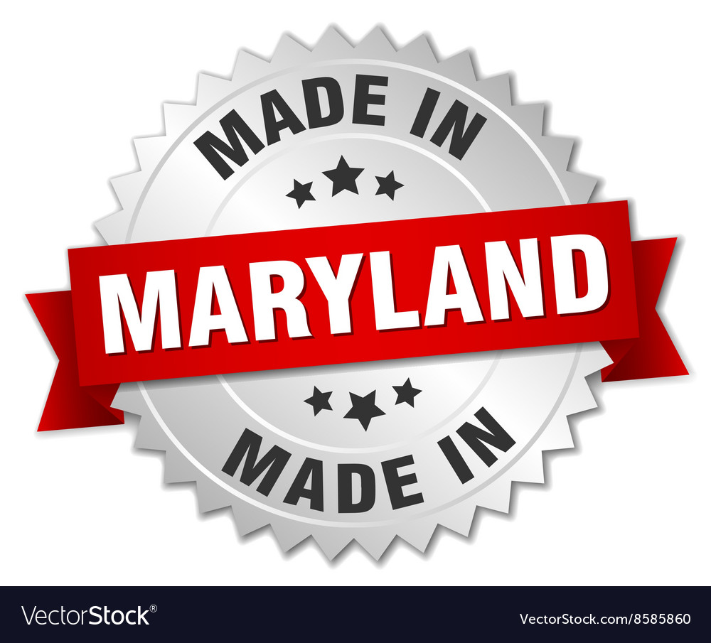 Made in maryland silver badge with red ribbon vector
