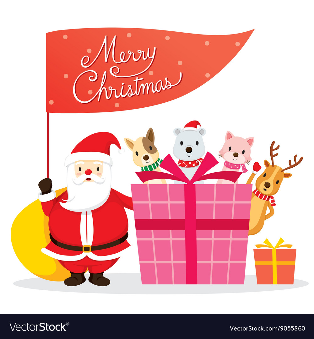 Santa claus animals and gift box vector