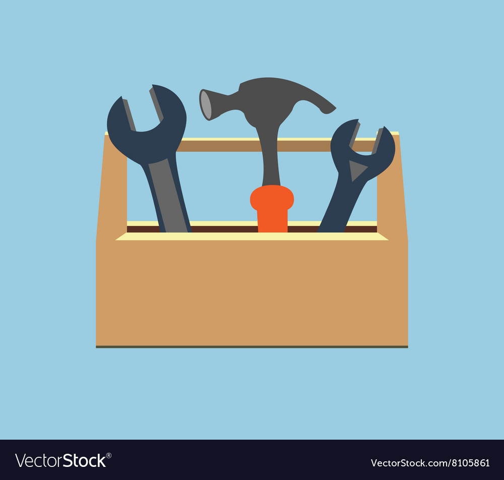 Box with tools wrench and hammer vector