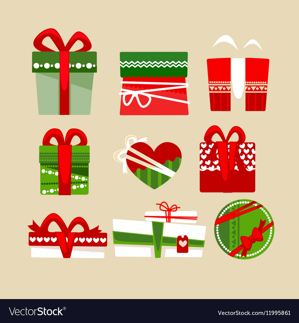 Christmas gift boxes icons set for holidays vector