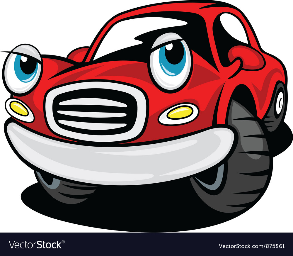Red funny cartoon car vector