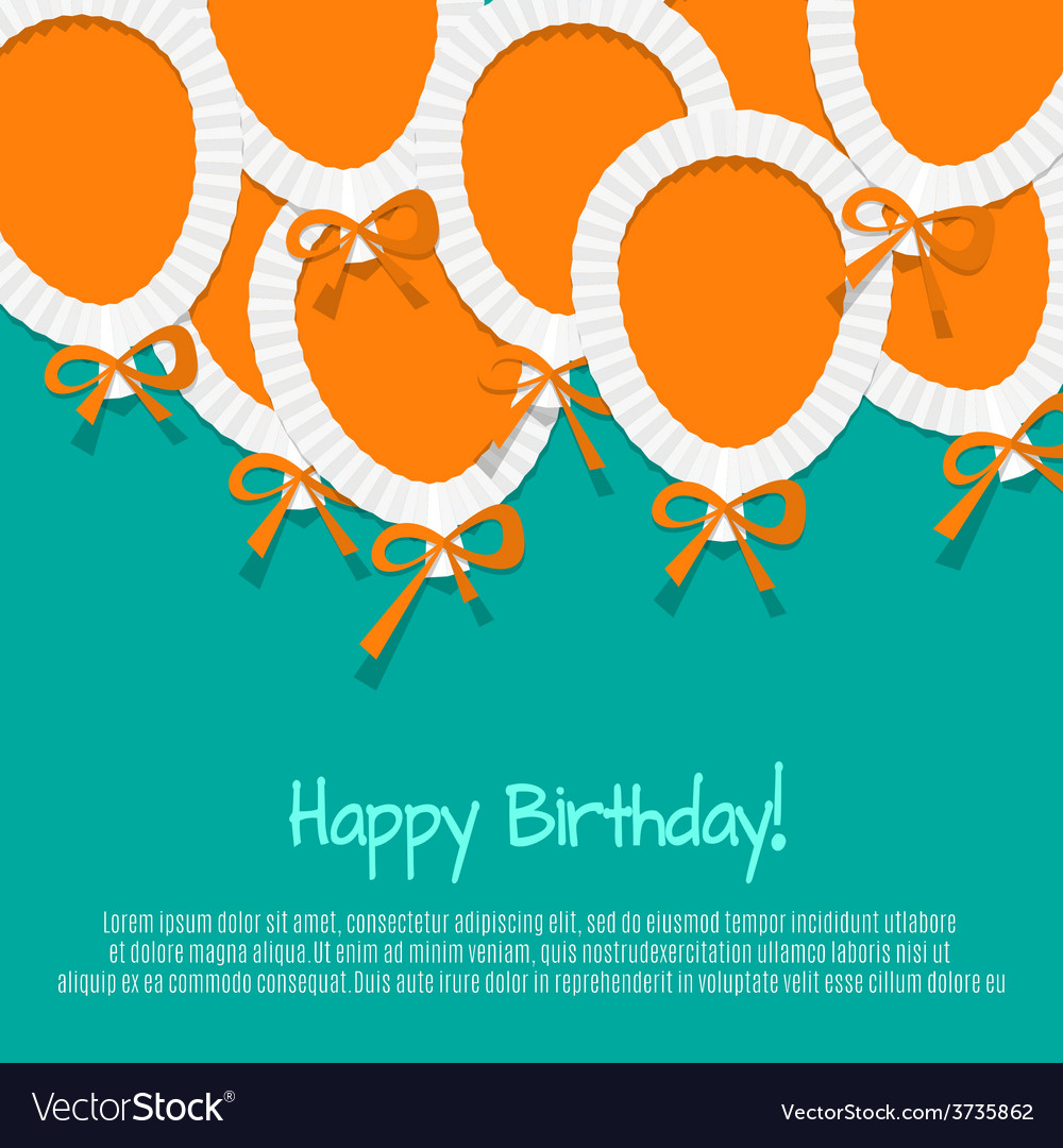 Happy birthday paper balloon background vector
