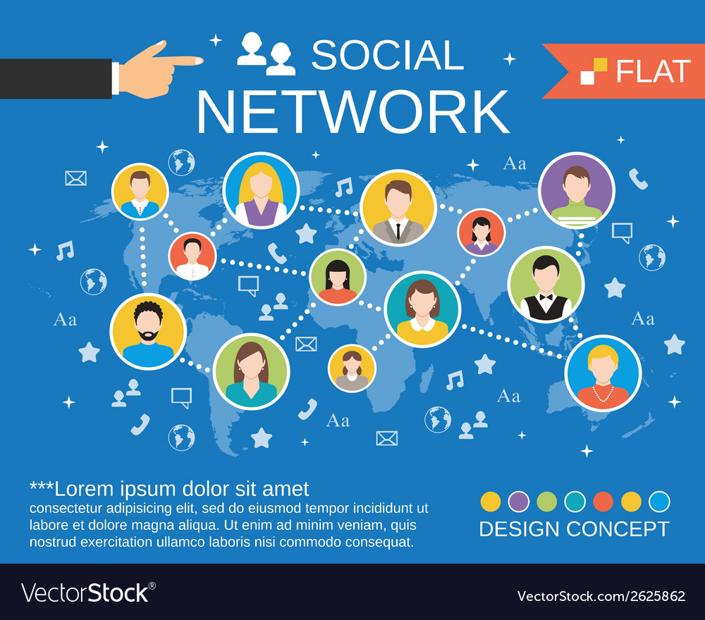Social network concept template vector